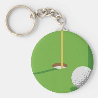 Golf Basic Round Button Key Ring