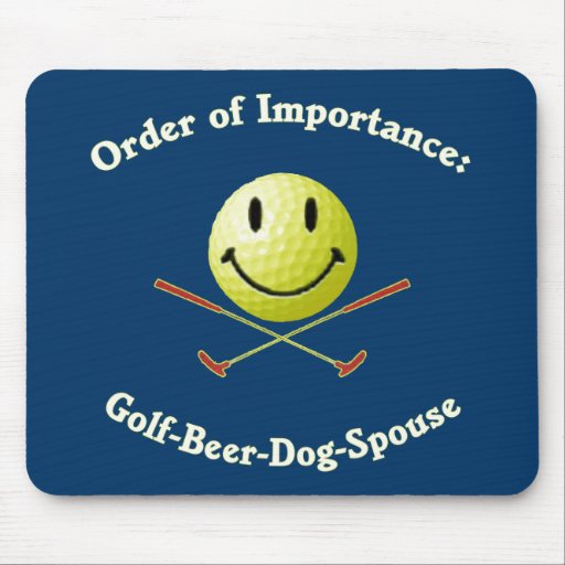 Golf Beer Dog Spouse Smiley Mousepad