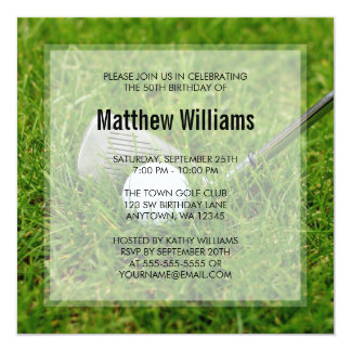 Golf Birthday 13 Cm X 13 Cm Square Invitation Card
