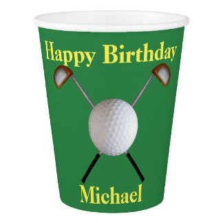 Golf Birthday Paper Cups (Customisable)