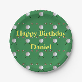 Golf Birthday Paper Plates (Customizable) 7 Inch Paper Plate