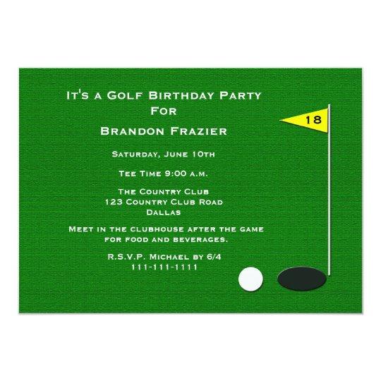 Golf Birthday Party Invitation 18th Golf Hole