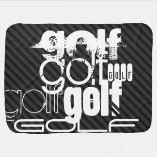 Golf; Black & Dark Gray Stripes Baby Blankets