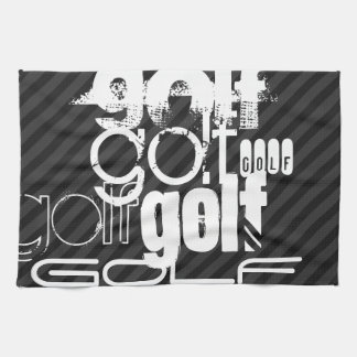 Golf; Black & Dark Gray Stripes Tea Towel