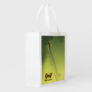 "Golf ""Book a game"" vintage Poster Reusable Grocery Bag"