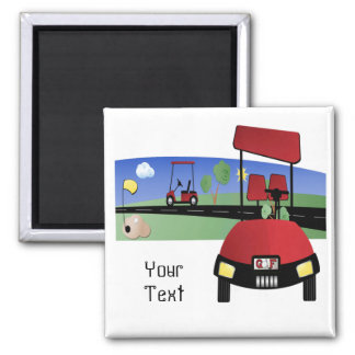 Golf Buggy Square Magnet