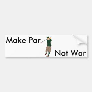Golf Bumpersticker - Make Par. Not War Bumper Sticker