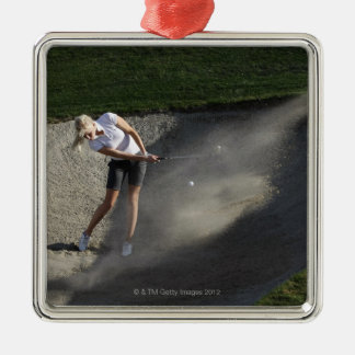 Golf bunker action Silver-Colored square decoration