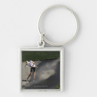 Golf bunker action Silver-Colored square key ring