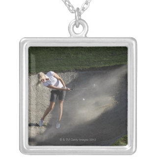 Golf bunker action silver plated necklace