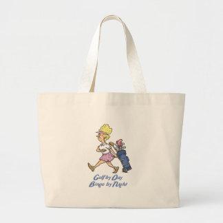 golf by day bingo by night jumbo tote bag