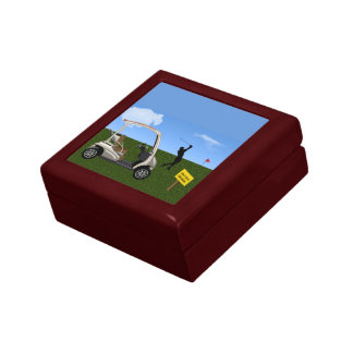 Golf Cart Crossing on Fairway Gift Box