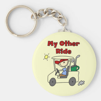 Golf Cart Other Ride Tshirts and Gifts Basic Round Button Key Ring