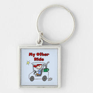 Golf Cart Other Ride Tshirts and Gifts Silver-Colored Square Key Ring