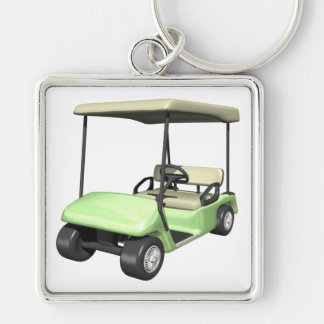 Golf Cart Silver-Colored Square Key Ring