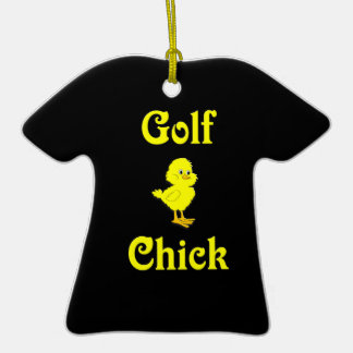 Golf  Chick Double-Sided T-Shirt Ceramic Christmas Ornament