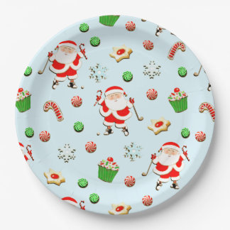 golf Christmas Paper Plate