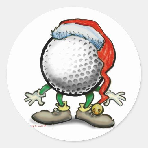Golf Christmas Round Sticker