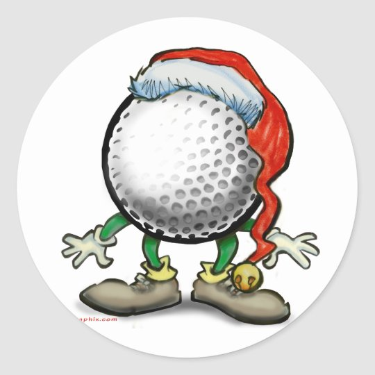 Golf Christmas Round Sticker