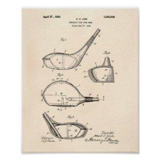 Golf Club 1926 Patent Art - Old Peper Poster