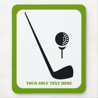 Golf club and ball black, green custom mouse pad
