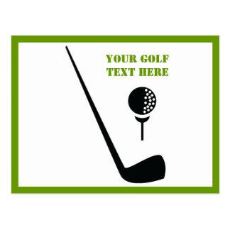 Golf club and ball black, green custom postcard
