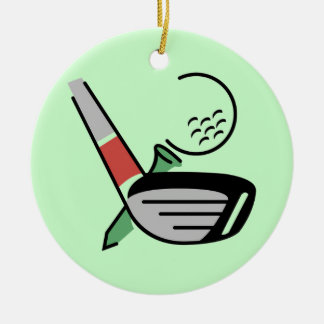 Golf Club, Ball, and Tee T-shirts and Gifts Round Ceramic Decoration