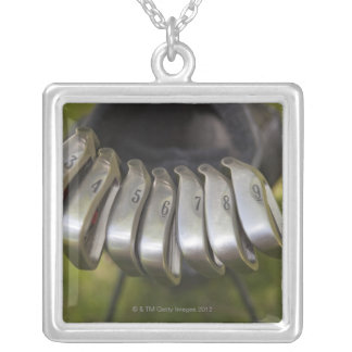 Golf club heads in a bag. Three through nine Silver Plated Necklace