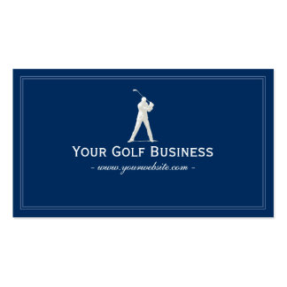 Golf Club Navy Blue Plain Simple Framed Pack Of Standard Business Cards