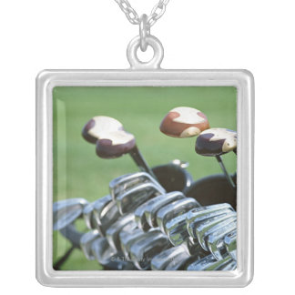 Golf Club Square Pendant Necklace