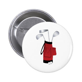 Golf Clubs and Bag 6 Cm Round Badge
