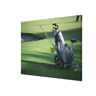 Golf clubs and golf bag canvas prints
