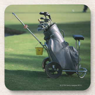 Golf clubs and golf bag coaster