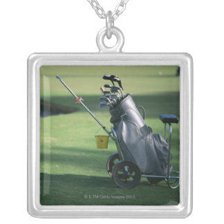 Golf clubs and golf bag silver plated necklace