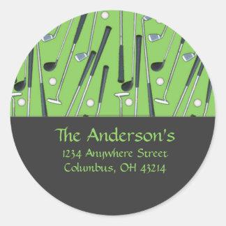 Golf Clubs Design 2 Address Labels/Stickers Round Sticker