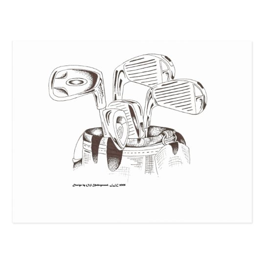 Golf Clubs in Black & White Postcard