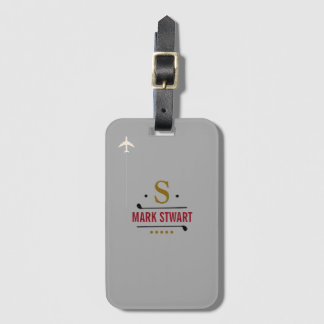 golf clubs, name & initial on gray monogrammed luggage tag