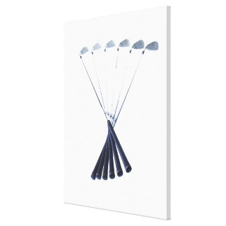 Golf clubs on white background canvas prints