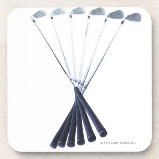 Golf clubs on white background coaster