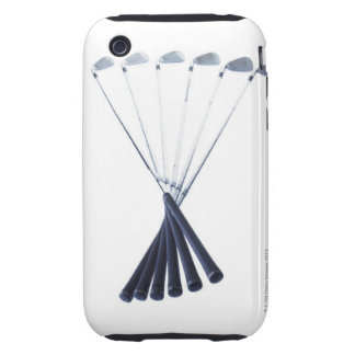 Golf clubs on white background tough iPhone 3 case