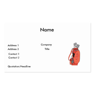 golf clubs pack of standard business cards