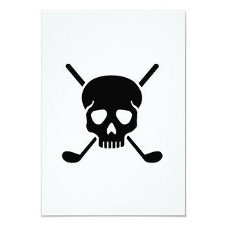 Golf clubs skull 3.5x5 paper invitation card