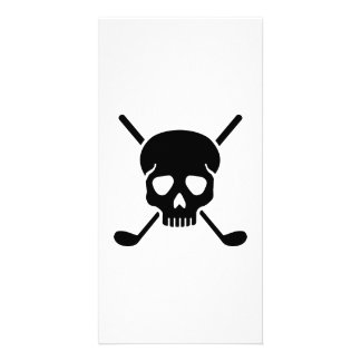 Golf clubs skull custom photo card