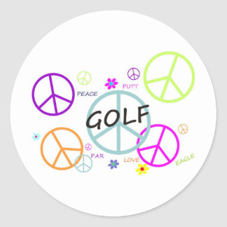 Golf Colored Peace Signs Sticker