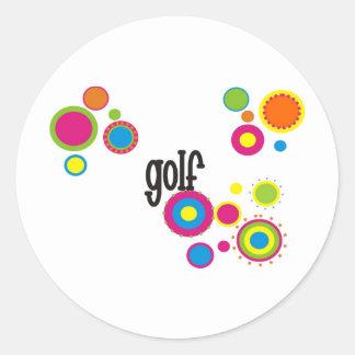 Golf Cool Polka Dots Round Sticker