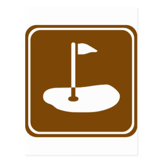 Golf Course Highway Sign Postcard