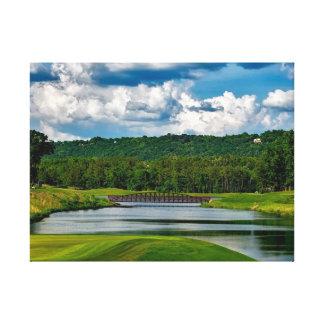 Golf Course Lake Bridge Landscape Canvas Print