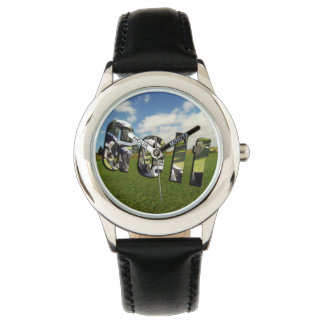Golf Course Logo, Kods Black Leather Watch