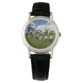 Golf Course Logo, Ladies Black Leather Watch