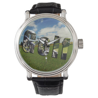 Golf Course Logo, Mens Large Face Leather Watch